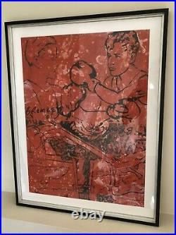 DAVID BROMLEY Boxing / Lighthouse Mixed Media on Canvas Painting 76cm x 62cm