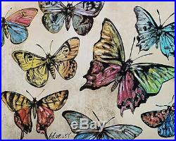 DAVID BROMLEY Butterflies Mixed Media on Card 70cm x 88cm