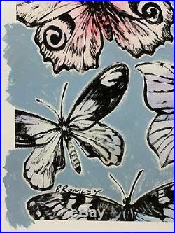 DAVID BROMLEY Butterflies Mixed Media on Paper 107cm x 87cm
