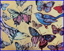 DAVID BROMLEY Butterflies and Birds Mixed Media on Card 70cm x 88cm