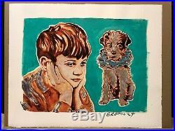 DAVID BROMLEY Children Series Boy With Dog Mixed Media 67cm x 88cm