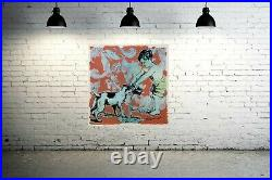 DAVID BROMLEY Children Series Boy and Dog Mixed Media on Paper 94cm x 94cm