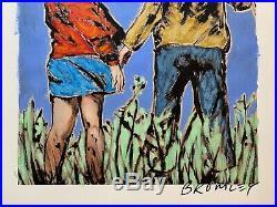 DAVID BROMLEY Children Series Holding Hands Mixed Media 79cm x 61cm
