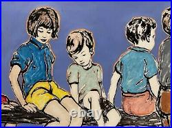 DAVID BROMLEY Children Series On The Fence Mixed Media 89cm x 102cm