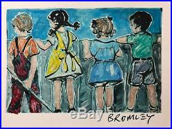 DAVID BROMLEY Children Series Over The Fence Mixed Media 37cm x 55cm