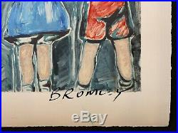 DAVID BROMLEY Children Series Over The Fence Mixed Media 57cm x 84cm