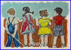 DAVID BROMLEY Children Series Over The Fence Mixed Media 57cm x 87cm