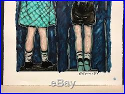DAVID BROMLEY Children Series Over The Fence Mixed Media 79cm x 102cm