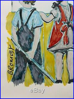DAVID BROMLEY Children Series Over The Fence Mixed Media on Paper 102cm x 91cm