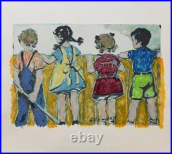 DAVID BROMLEY Children Series Over The Fence Mixed Media on Paper 91cm x 102cm