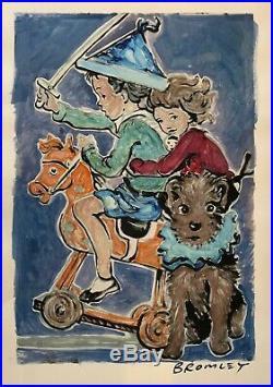 DAVID BROMLEY Children Series Rocking Horse Mixed Media 85cm x 57cm