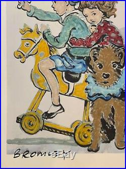 DAVID BROMLEY Children Series Rocking Horse Signed, Mixed Media 86cm x 57cm