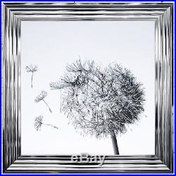 Dandelion White Background Glitter Art Framed Liquid Artwork Swarovski Crystals