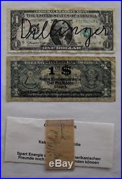 Dillinger v. Joseph Beuys Signiert Dollarnoten Moderne Kunst Fluxus (beu0108)