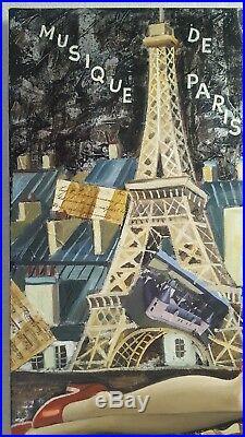 ELENA KHMELEVA b1966 large signed original mixed media oil painting Paris Violin
