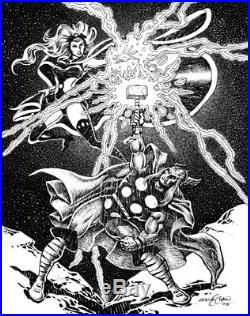 ERNIE CHAN original art, THOR and STORM, 11x14, 2005, more in our store