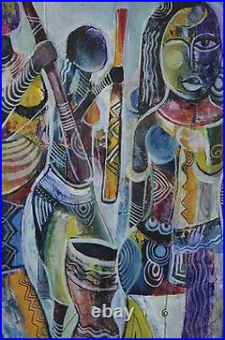 E. Wilson Mix Media Abstract African Ethnic Women Painting Unframed