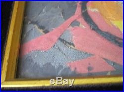 Ella Ra'ayoni Vintage Fabric Collage MID Century Modern Abstract Expressionism