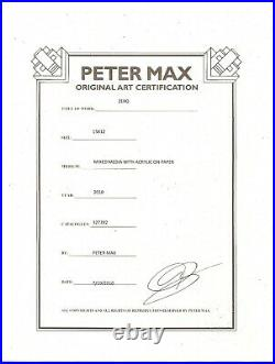 Estate Sale HAND SIGNED PETER MAX Zero Man In ACRYLIC MIXED MEDIA NUMBERED COA