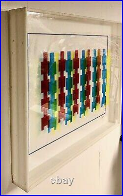 Excellent Large Leonard Janklow Mixed Media Kinetic Optical Art Illustration