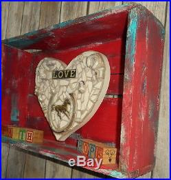 Faith Hope Love Wall Art Southwest Western Decor Assemblage Turquoise Red Horse