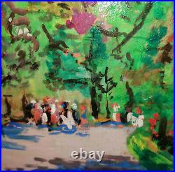 Fauvistische tolle Arbeit von RUDOLF LEXA (1915-2003) / spaziergang im Park