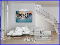 FeNatArt ACRYLGEMÄLDE moderne KUNST Malerei 100x70cm BILDER Neu BLAU Leinwand XL