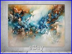 FeNatArt ACRYLGEMÄLDE moderne KUNST Malerei STRUKTUR Bilder NEU Blau HANDGEMALT