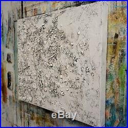 FeNatArt ACRYLGEMÄLDE moderne KUNST Malerei STRUKTUR Bilder NEU Weiß HANDGEMALT