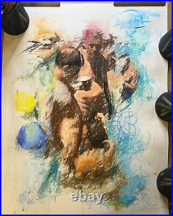 Fine Art DRAWING Mixed Media Watercolor Pastel Male Nude Figure Study