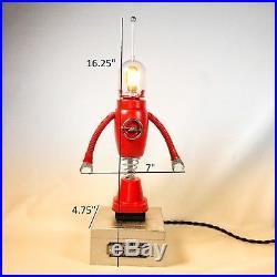 Found object Sculpture, retro Robot, atomic lamp, junk art, mixed media art