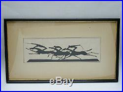 Framed Hand Signed William Hunt Diederich Paper Silhouette Horse Race