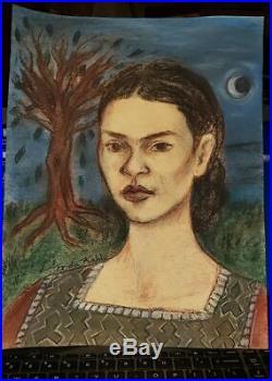 Frida Kahlo-Mixed Media on Heavy Stock Paper-Signed-1942-Signed-Galeria Mexicana