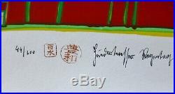 Friedensreich Hundertwasser DIE HAEUSER HAENGEN HAND signed mixed media Regentag
