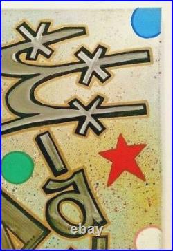 GRAFFITI LEGEND LAVA I & II URBAN ST ART TAGGED STICK FIGURE 18 X 24 Canvas OOAK