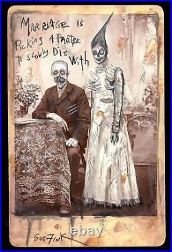 GUS FINK Art ORIGINAL outsider lowbrow ooak folk antique horror brut MARRIAGE