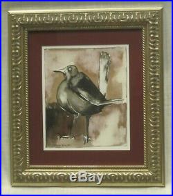Geoffrey Key'Blackbird' Original Mixed Media Framed