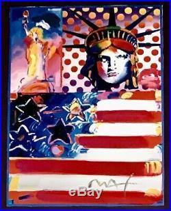 God Bless America Peter Max Signed Original Mixed Media Acrylic Liberty USA COA