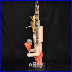 Gregory Lomayesva Hopi Folk Art, Hand-Carved Mixed Media Sculpture, 20H