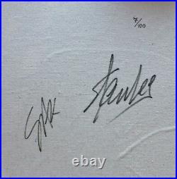 HAND SIGNED STEVE KAUFMAN & Stan Lee SPIDERMAN SCREENPRINT CANVAS 32 x 32