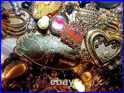 Handcrafted Ooak Vintage Framed Lights Jewelry Christmas Tree Folk Art Picture
