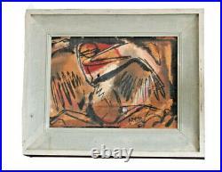 Harold Laynor Vtg Mid Century Modern Art Bird Mixed Media Painting New York