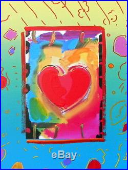 Heart, Original Mixed Media Painting, Peter Max SIGNED with COA