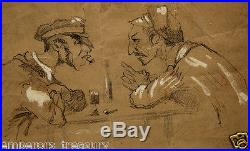 Honore Daumier French drawing Friends Charcoal on Paper Scene 19th Century