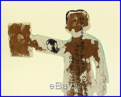 Howard Finster Folk Artist A Cut-out Self Portrait 1916-2001 Mixed Media Art