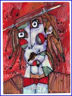 IRISH TRAVELLER abstract/folk/outsider mixed media painting J. Swinton Canadian