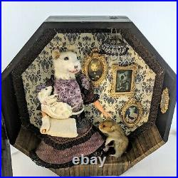 Interactive Rat Mouse Hamster Taxidermy Shadow Box Victorian Doll House Wall Art