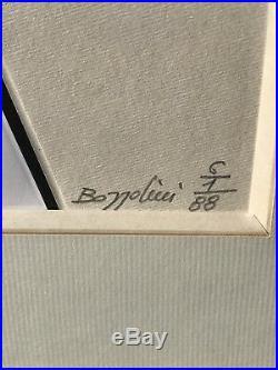 Italian Geometric Abstract Mixed Media Painting By Silvano Bozzolini Signed 1988