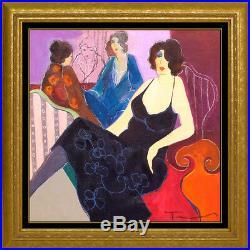 Itzchak Tarkay Original Mixed Media Painting On Canvas Signed Female Cafe Framed