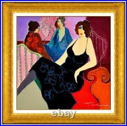 Itzchak Tarkay Original Mixed Media Painting On Canvas Signed Lady Cafe Portrait